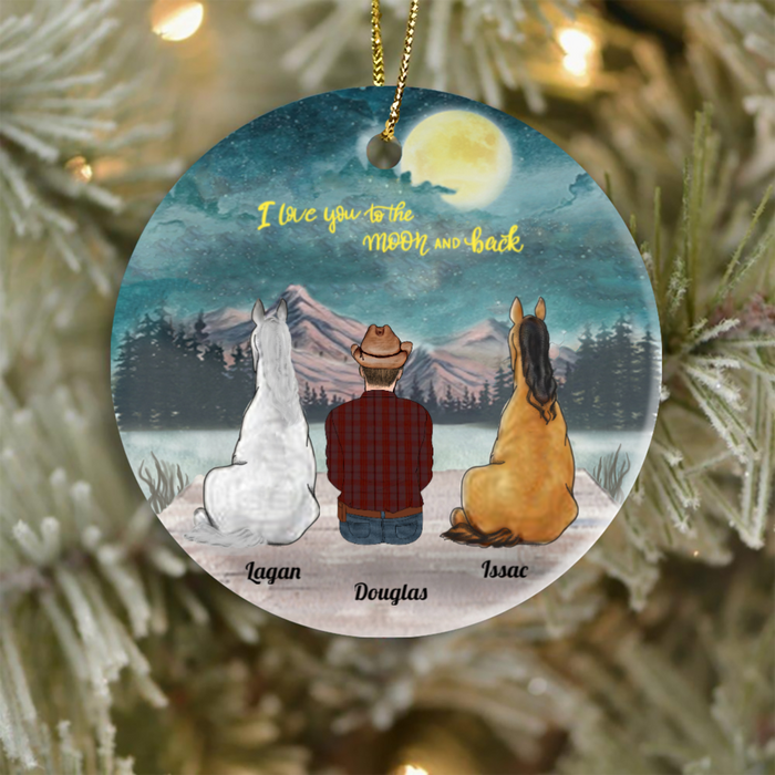 Personalized Horse Christmas ornament, Gift Idea for Horse Lovers - 2 Horses & Dad Ornament - I love you to the moon and back