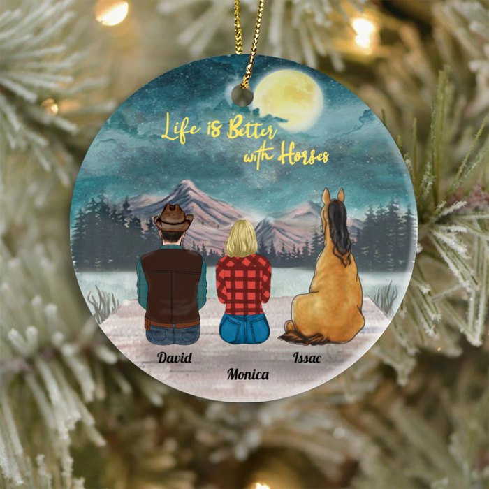 Personalized Christmas Ornament Gifts For Horse Lovers - Couple, Man and Woman With 1 Sitting Horse Ornament - Life is better with horses
