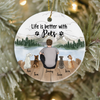 Personalized Pet Christmas Ornament - Christmas Gift For Cat Dog Dad, Cat dog lovers - Dad & 4 Pets Ornament - Life Is Better With Pets