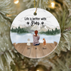 Pet Mom with 2 Pets Ornament - Personalized Gift for Cat Dog Mom, Pet Mom, Mom and 2 Pets- Life is better with Pets