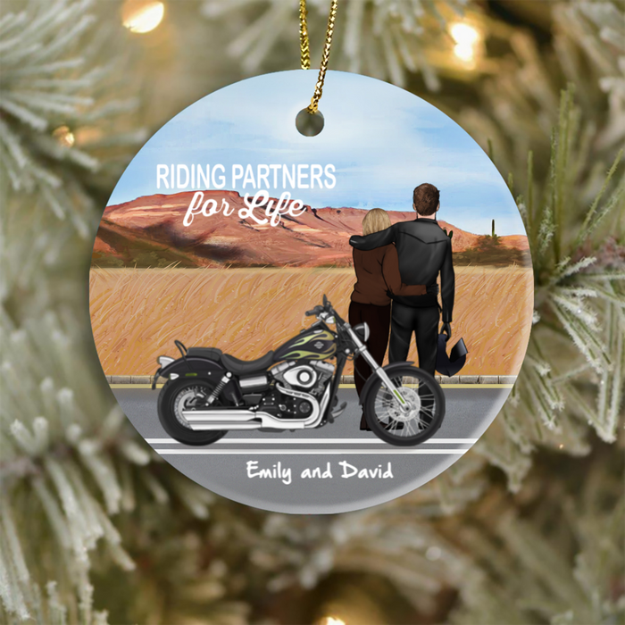 Personalized Christmas Ornaments Gifts for Couple, Husband and wife, bike lovers - Riding partners for life