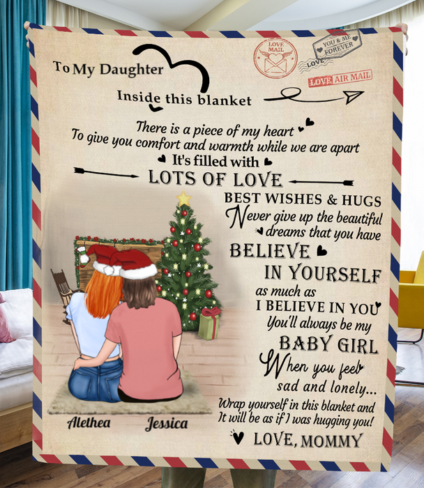 Personalized handwritten letter blanket - Best Christmas Gift for Daughter - To My Daughter Mom & Adult Daughter/Little Daughter Love Letter Fleece Blanket - Believe in Yourself