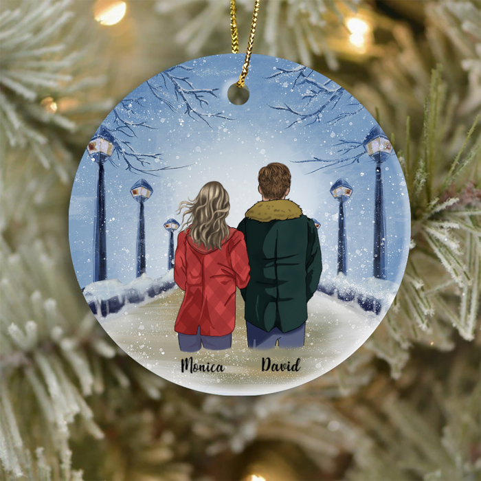 Personalized Couple, Husband And Wife, Man and Woman Christmas Gift Ideas Ornament  - In The Winter