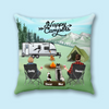 Personalized Throw Pillow Cover, Cushion Cover -Custom Gifts for Dog Cat Lovers - Couple and 2 Dogs/2 Cats/1 Dog and 1 Cat - Happy campers