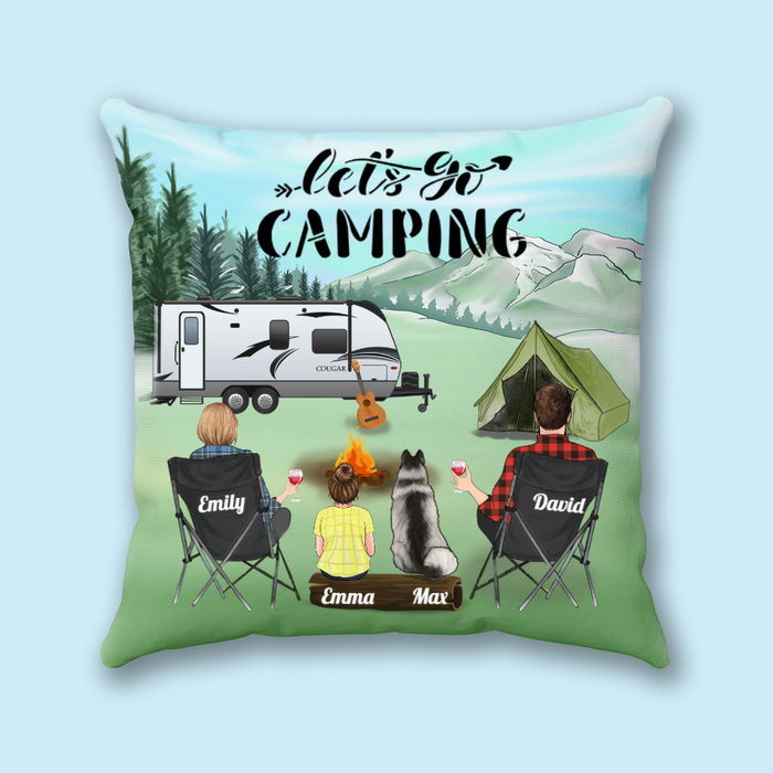 Personalized Throw Pillow Cover, Cushion Cover - Custom Gift for Family, Camping Lovers, Dog Cat Lovers - Couple 1 Kid and 1 Dog, Husband and wife 1 Kid and 1 cat - Let's go camping