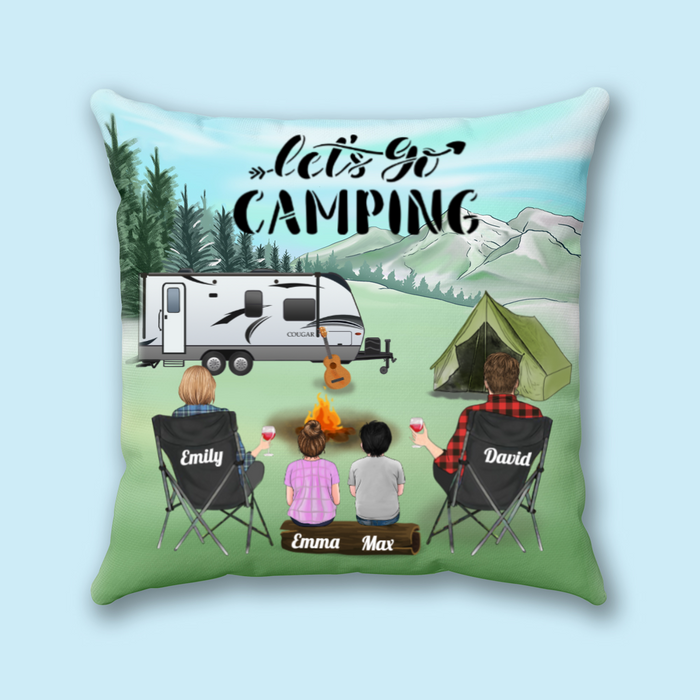 Personalized Throw Pillow Cover, Cushion Cover - Custom Gift for Family, Camping Lovers, Dog Cat Lovers - Family 2 Kids, Husband and wife 2 kids - Let's go camping