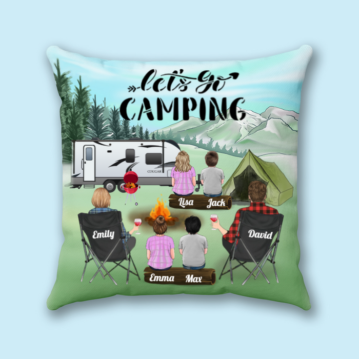 Personalized camping pillow cover, gift idea for the whole family - Father's day gift - Mother's day gift from husband to wife - Parents with 4 Kids Camping