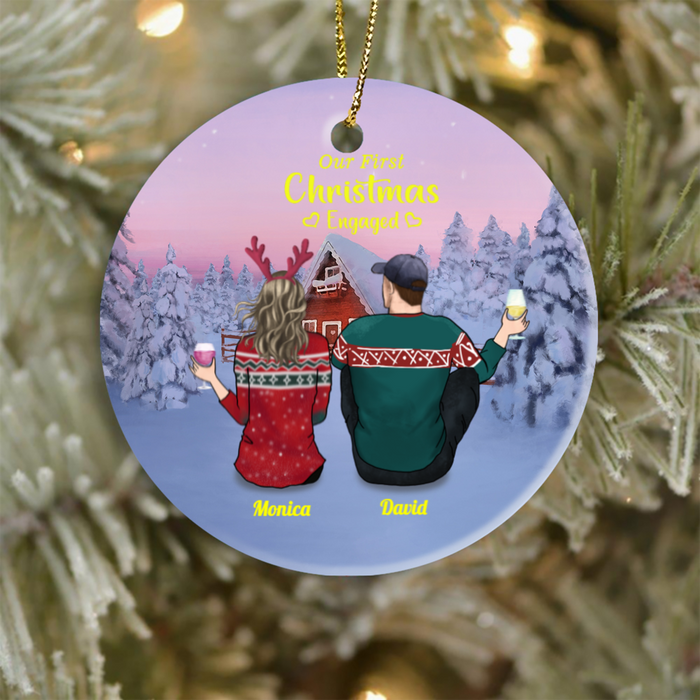 Personalized Christmas Ornament For Couple, The whole family, Kids and Pets -  Our first Christmas engaged