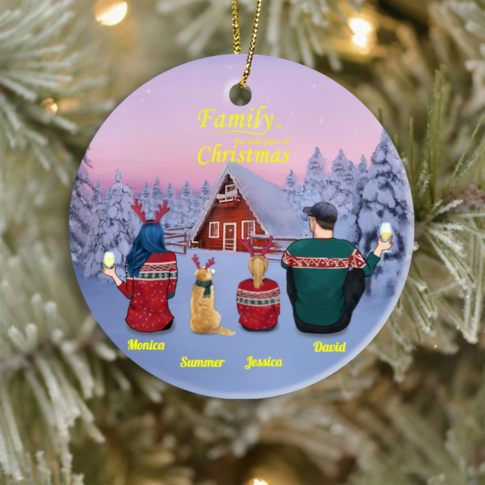Personalized Christmas Ornament gifts for the whole family, dog cat lovers - Couple 1 Kid and 1 Dog/1 Cat - Family is the best part of Christmas