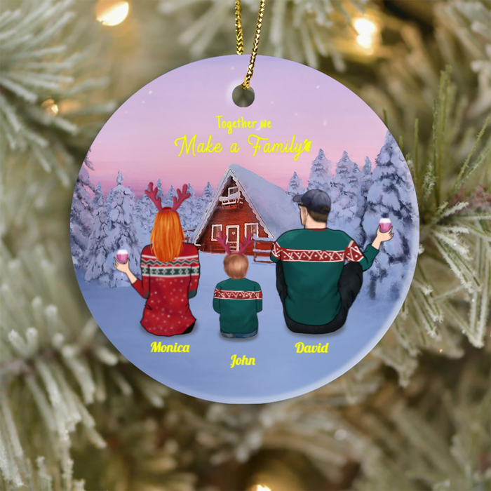 Personalized Family Christmas Ornaments gifts for the whole family - Parents and 1 Kid Ornament - Together we make a family