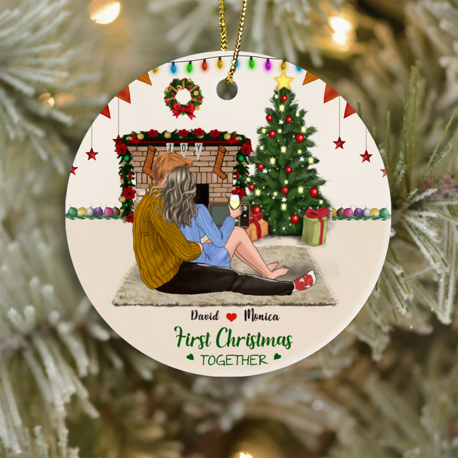 Personalized Couples Christmas Ornament, Gift Idea For The Whole Family, Couples - Husband And Wife, Man And Woman - First Christmas Together