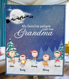 Personalized Christmas Blanket Gift idea for Grandma - 5 Kids - My favorite people call me Grandma