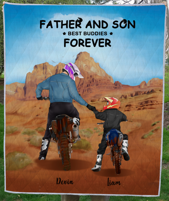 Personalized Blanket, Father's Day Gift Idea For Dad, Motorcycle Lovers - Dad and Son Quilt Blanket - Father And Son Best Buddies Forever