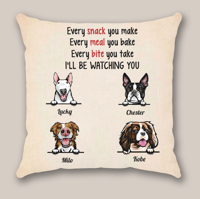Personalized dog throw pillow cover - Custom gift idea for the whole family, cat dog lovers - 4 dogs pillow cover - I'll be watching you