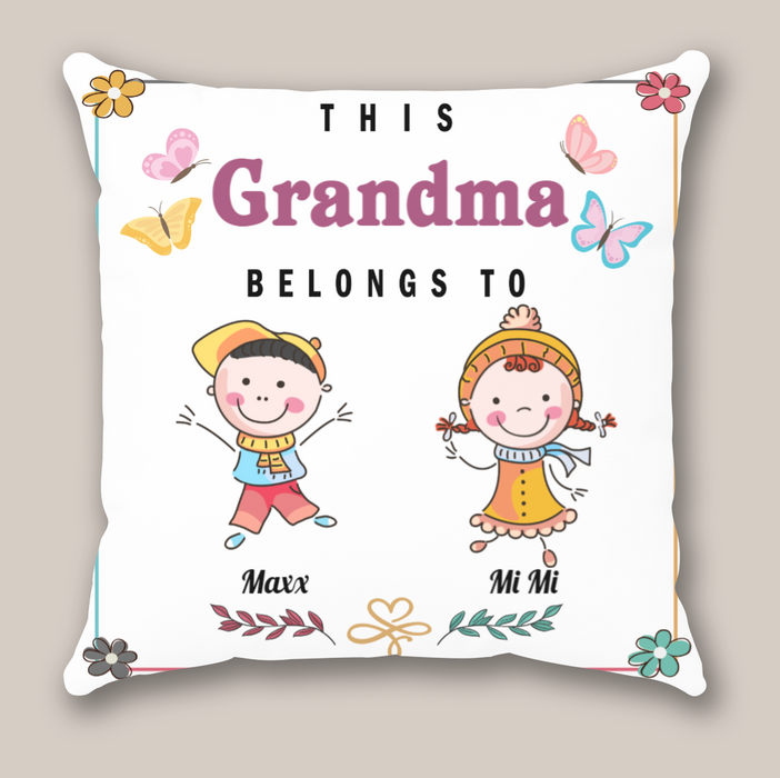 Personalized Gifts For The Whole Family - Personalized Mother's Day Gift For Grandma - 2 Kids Pillow - This Grandma Belongs To
