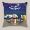 Personalized Camping Pillow Cover Gift For Couple - Valentines day gift for him her boyfriend girlfriend - Couple & 1 Pet Night Beach Camping