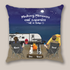 Personalized Camping Pillow Cover Gift For Couple - Valentines day gift for him her boyfriend girlfriend - Couple & 2 Pets Night Beach Camping