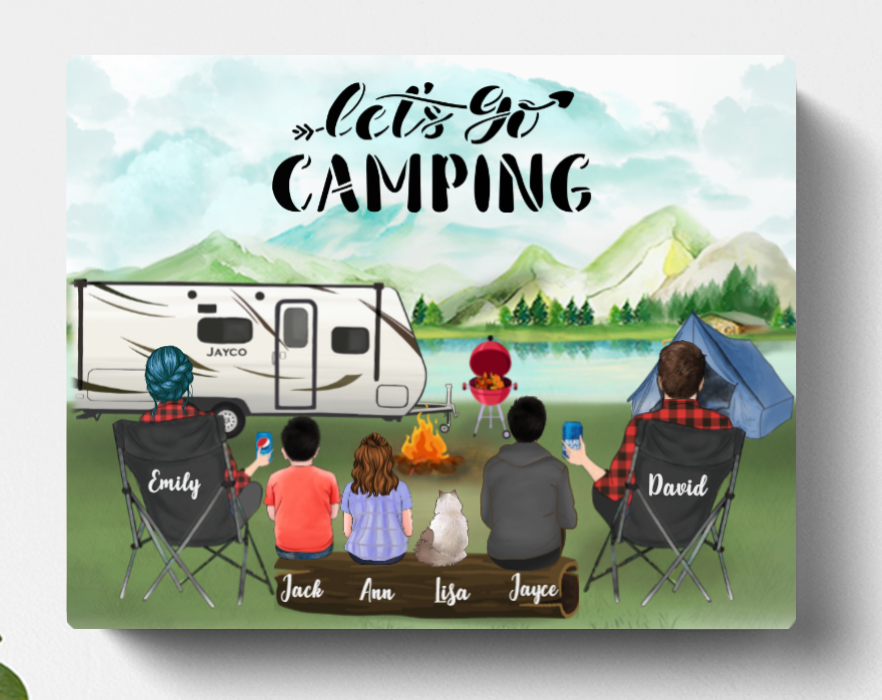 Personalized Camping Canvas, Gift Idea For The Whole Family - Parents with 1 teen, 2 kids & 1 pet  family canvas - Father's day gift - Mother's day gift from husband to wife - Let's Go Camping