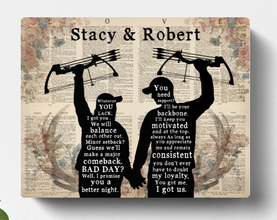 Personalized Canvas , Gift for Couple, Hunters, hunting lovers - Valentines day gift for him her boyfriend girlfriend
