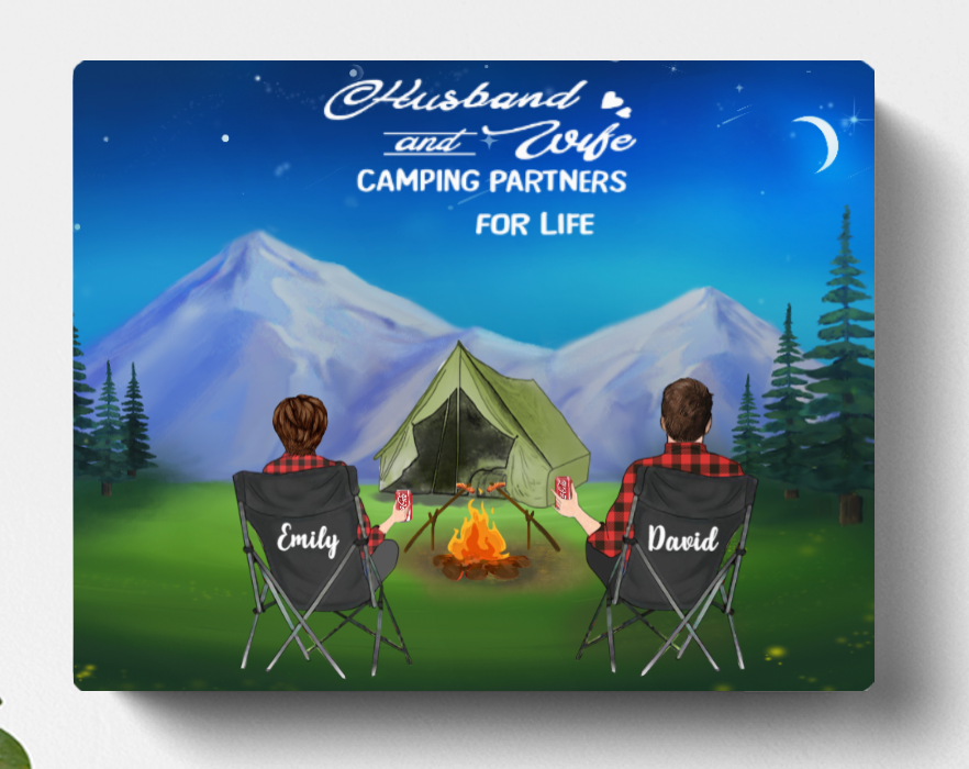 Personalized Camping Canvas, Gift For Couple, Camping Lovers - Valentines day gift for him her boyfriend girlfriend  - Couple Night Mountain Camping Canvas - No Kid, No Pet