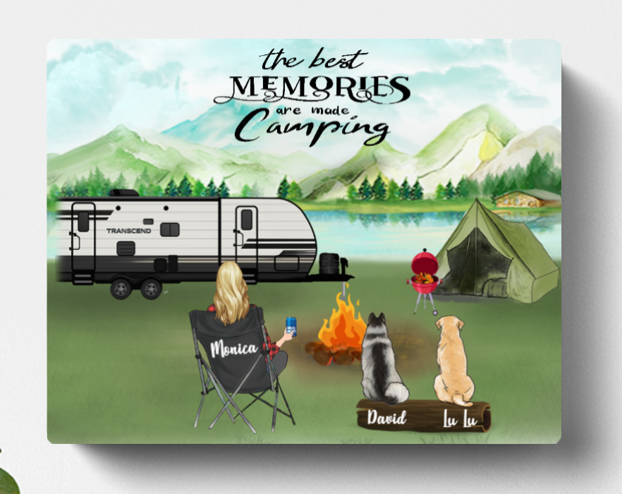 Personalized Camping Horizontal Canvas, Gift Idea For The Whole Family, Camping Lovers - 1 Woman & 2 Dogs Or Cats, Canvas Wall Art - The Best Memories Are Made Camping
