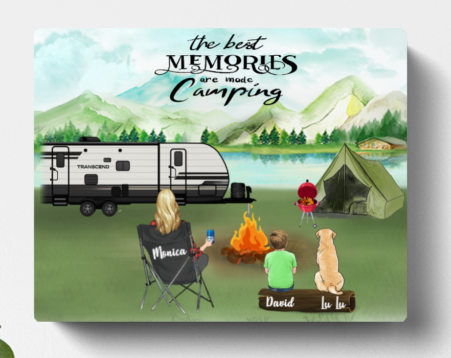 Personalized Mother's Day Gift For Single Mom - Mom with 1 kid & 1 pet camping canvas - Best mother's day gift ideas - The best memories are made camping