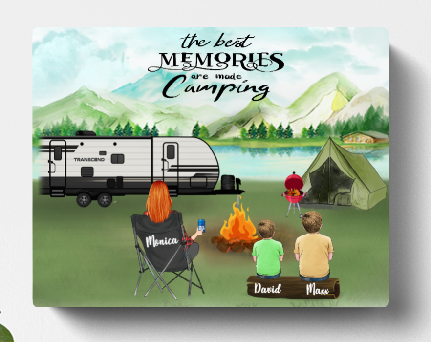 Personalized Mother's Day Gift For Single Mom, Camping Lovers - Mom with Kids & Pets Camping Canvas - The Best Memories Are Made Camping