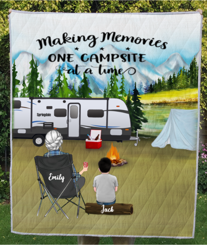 Personalized Mother's day for single mom - Mom with 1 kid mountain camping quilt blanket - Making Memories One Campsite At A Time