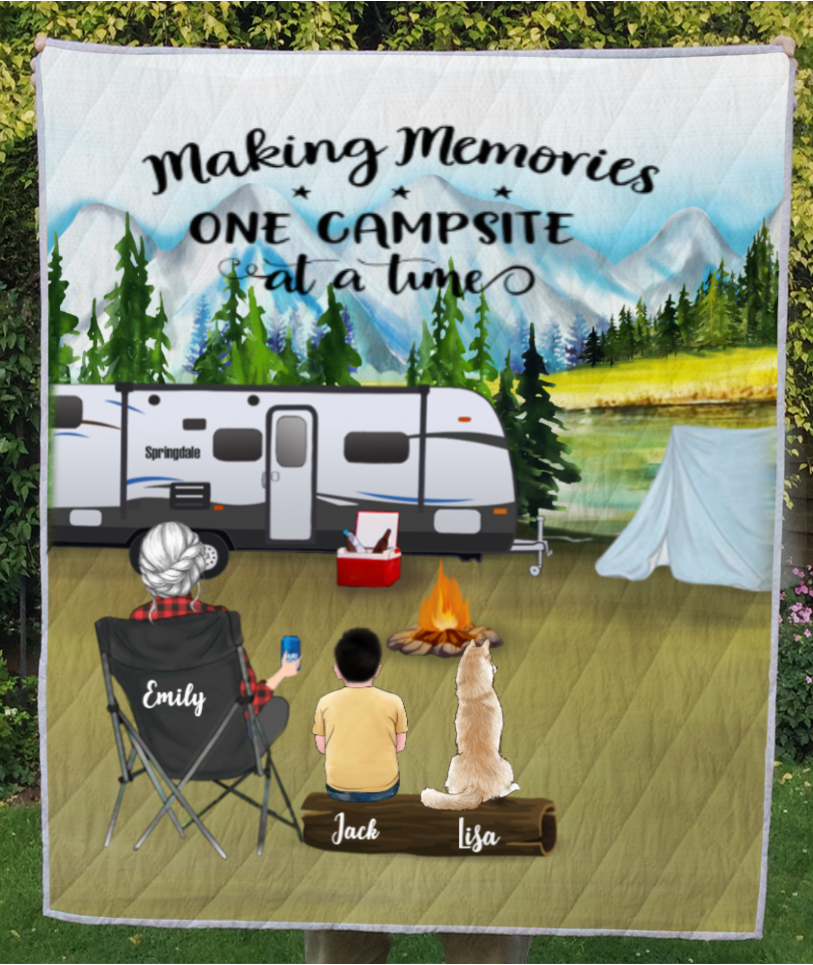 Personalized Mother's day for single mom - Mom with 1 kid and 1 pet mountain camping quilt blanket - Making Memories One Campsite At A Time