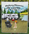 Personalized Mother's day for dog mom, cat lovers - Mom with 1 pet mountain camping quilt blanket - Making memories one campsite at a time