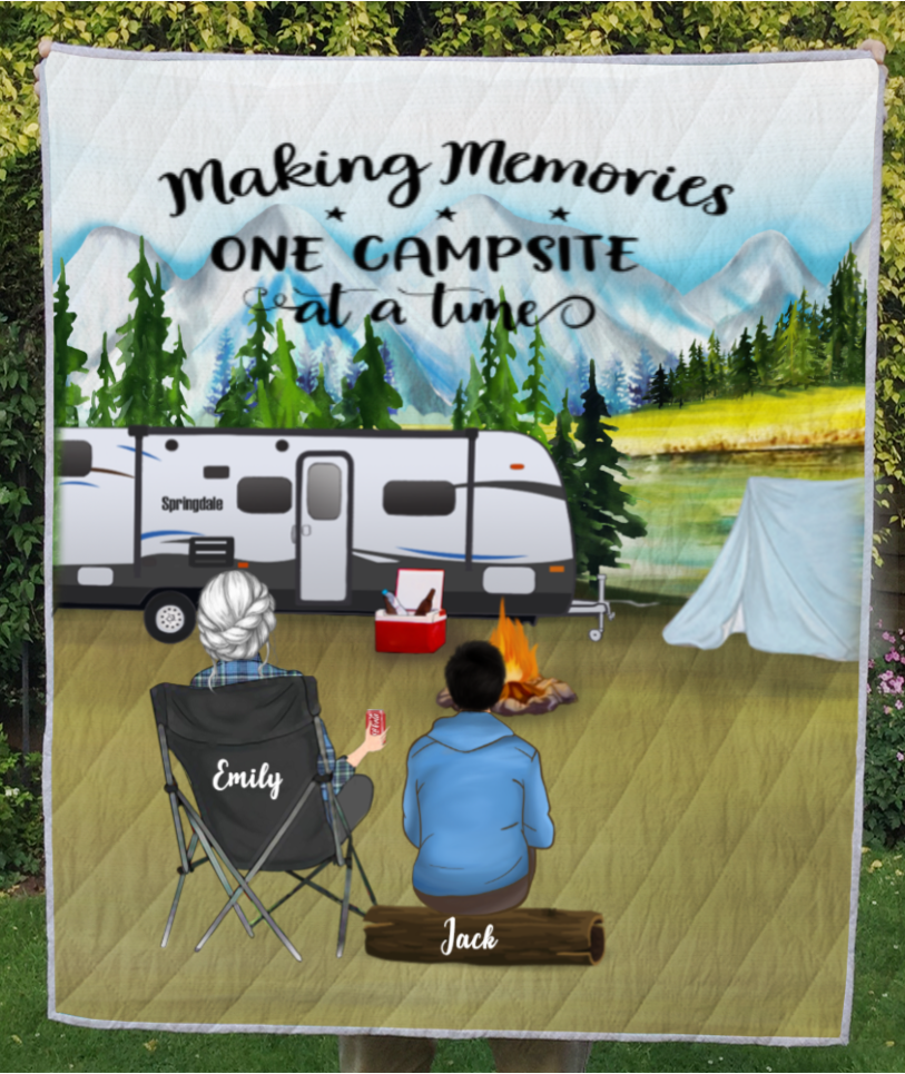 Personalized Mother's day for single mom - Mom with 1 teen mountain camping quilt blanket - Making Memories One Campsite At A Time