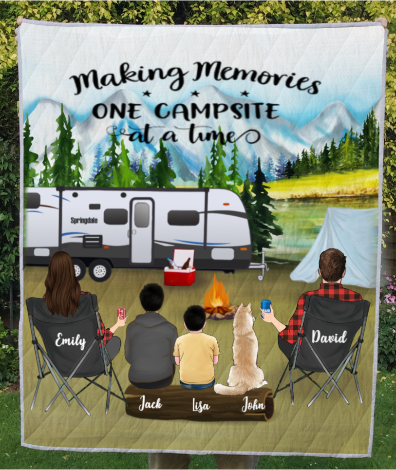 Personalized camping quilt blanket gift idea for family - Parents with Teens, Kids & Pets mountain camping - Father's day gift - Mother's day gift from husband to wife - Full option