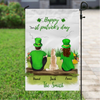 Personalized Garden Flag Sign, Best Gift For Couple, Cat Dog Lovers - Personalized Couple and 1 Pet Banner  - St Patrick's Day Flag - Happy St Patrick's Day