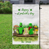 Personalized Garden Flag Sign, Best Gift For Couple, Cat Dog Lovers - Couple With 3 Pets Banner  - St Patrick's Day Flag - Happy St Patrick's Day