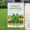 Personalized Garden Flag Sign, Best Gift For Couple, Cat Dog Lovers - Personalized Couple and 2 Pets Banner  - St Patrick's Day Flag - Happy St Patrick's Day