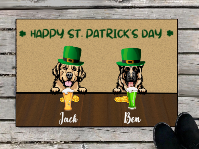 Personalized doormat, gift for dog lovers - 2 Dogs - Happy St.Patrick's Day