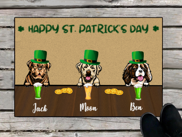 Personalized doormat, gift for dog lovers - Upto 3 Dogs  - Happy St.Patrick's Day