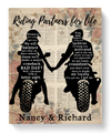 Personalized Canvas Gift for Couples, Biker Couples - Valentines day gift for him her boyfriend girlfriend - Riding partners for life