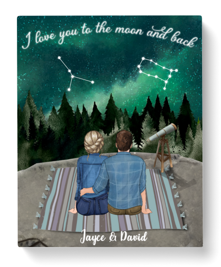 Personalized Canvas, Gift For Couple - Valentines day gift for him her boyfriend girlfriend - Zodiac Star Signs Night Sky For Best Zodiac Couple - I Love You To Moon And Back