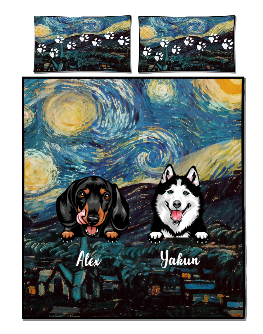Personalized Quilt Bedding Set, Best Gift for Dog Mom, Dog Dad, Dog Lovers - Upto 3 dogs - Mother's Day Gift Idea For Dog Mom