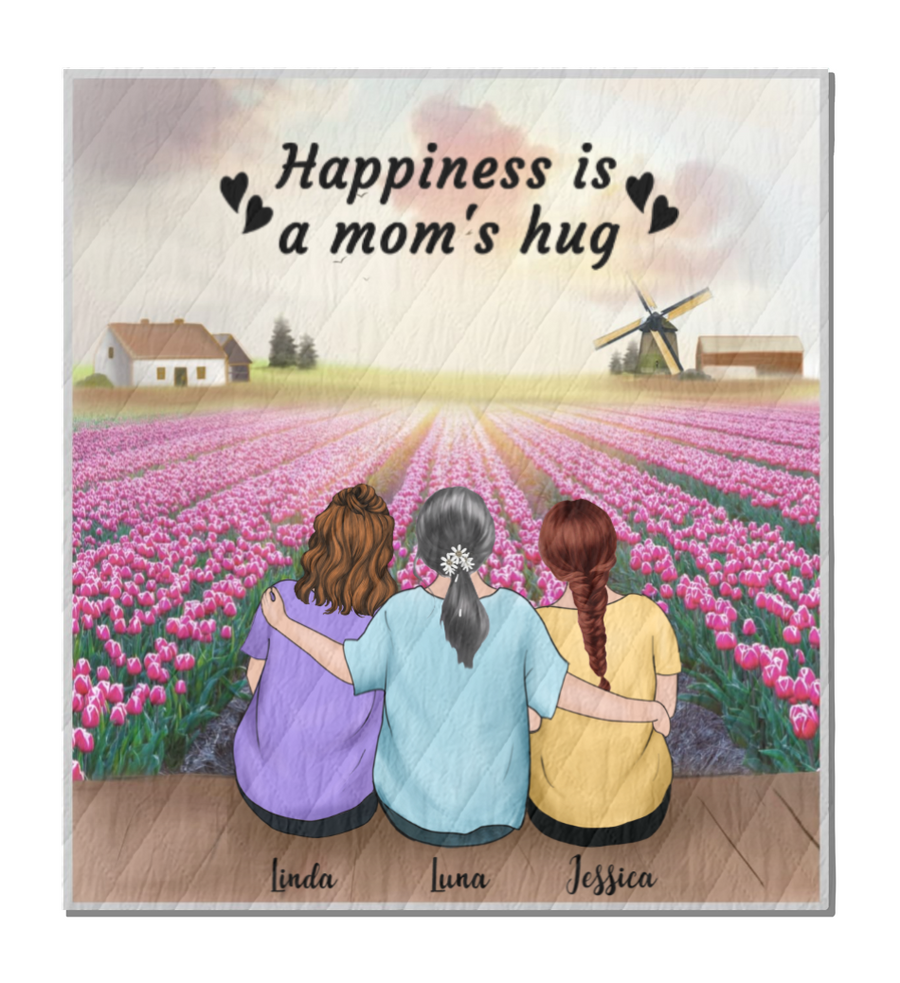 Personalized Mother's Day Gift From Daughter To Mom - Mom and 2 Daughters Quilt Blanket, Upto 3 Daughters - Happiness Is A Mom's Hug - Mother's Day 2021 - 3KGEII