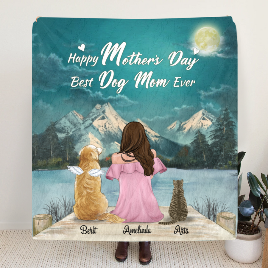Personalized Mother's Day Gift Idea For Dog Mom, Cat Mom - Mom and 2 Pets Quilt Blanket, Upto 5 Pets - Happy Mother's Day Best Dog Mom Ever - NG3BW9