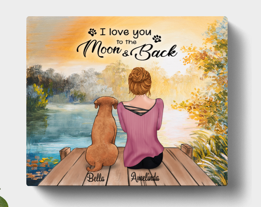 Personalized Mother's Day Gift For Dog Mom, Cat Lovers - Mom & 1 Pet Canvas Wall Art - I Love You To The Moon And Back - CMNG3Y