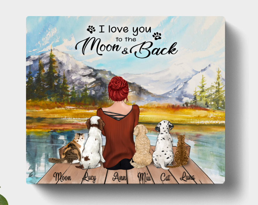 Personalized Mother's Day Gift For Dog Mom, Cat Lovers - Mom & 5 Pets Canvas Wall Art - I Love You To The Moon And Back- CMNG3Y