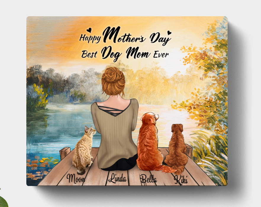 Personalized Mother's Day Gift For Dog Mom, Cat Lovers - Mom & 3 Pets Canvas Wall Art - Happy Mother's Day Best Dog Mom Ever- CMNG3Y