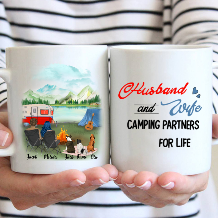 Personalized camping coffee mug gifts for dog mom dad, camping lovers - Couple and Upto 3 dogs - Happy Campers