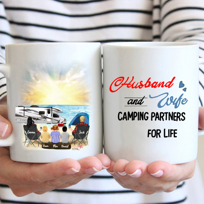 Personalized Gifts For the Whole Family Coffee Mug - Parents & 3 Kids Camping Mug - Husband and Wife Camping Partners For Life