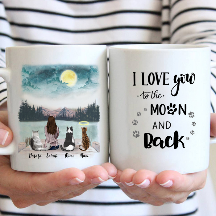 Personalized Mother's Day Gift For Cat Lovers - Mom & Upto 3 cats Coffee Mug - I love you to the moon and back
