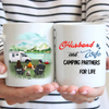 Personalized camping coffee mug, gifts for cat lovers - Couple & 1 Cat Camping Mug - Husband and Wife Camping Partners For Life