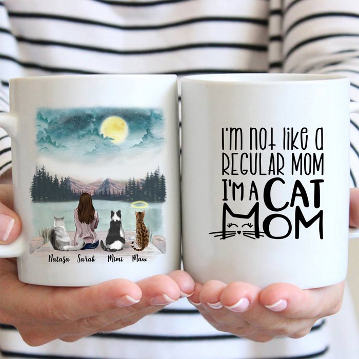 Personalized Cat Coffee Mug - Gifts For Cat Mom - Upto 3 cats - Life is better with cats
